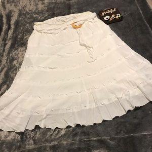 Dress Barn Long White Ruffled Skirt